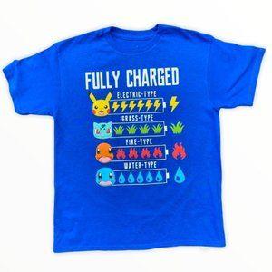 Pokemon Fully Charged Boys Blue T Shirt